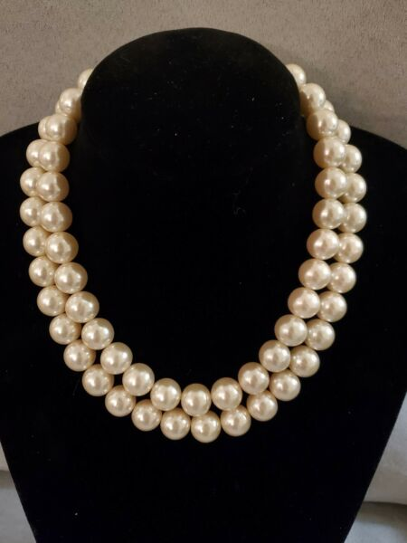 Vintage Heavy 2 Strand Large Faux Pearl Collar Necklace $14.99