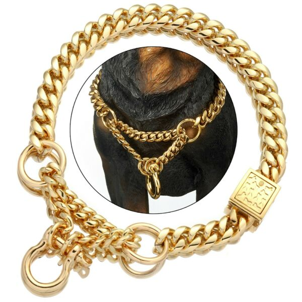 Gold Dog Martingale Collar Metal Chain Choke with Design Secure Buckle 15MM $35.99