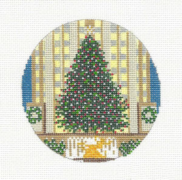Christmas Tree in Rockefeller Center NYC Needlepoint HP Canvas Needle Crossings