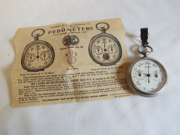 Antique boxed French Pedometer in yards mileswith leaflet.c1900