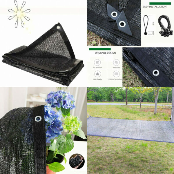 NUFR Shade Cloth 70% Sunblock for Plants Greenhouse 6.5ft x 6.5ft Black