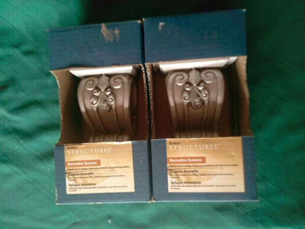 """Lot Of 2 Graber Structures Decorative Sconces Scroll Antique Pewter 6"""" H New $22.00"""