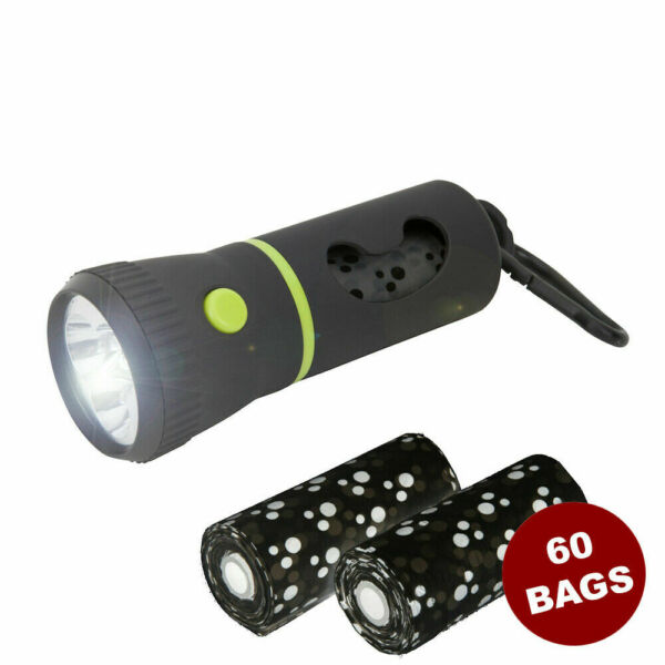 Pet Waste Dispenser Led Flashlight Disposable Poop Bags for Dogs Green in Color $8.99