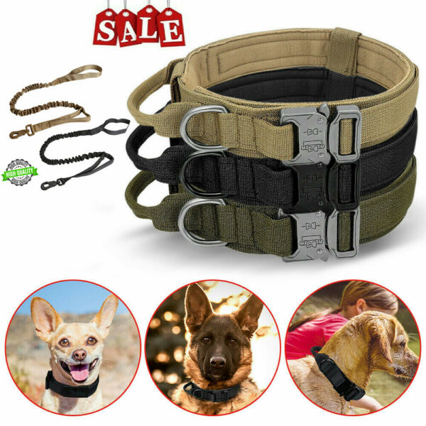 Tactical K9 Dog Training Collar Leash with Metal Buckle for L Dog Heavy Duty $12.38