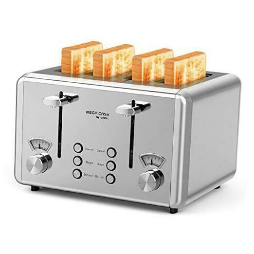 4 Slice Toaster Stainless SteelBagel Toaster 6 Bread Shade Silver