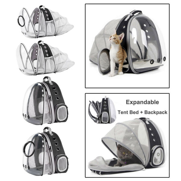 Expandable Cat Carrier Foldable Bubble Backpack Small Dog Hiking Carrying $40.65