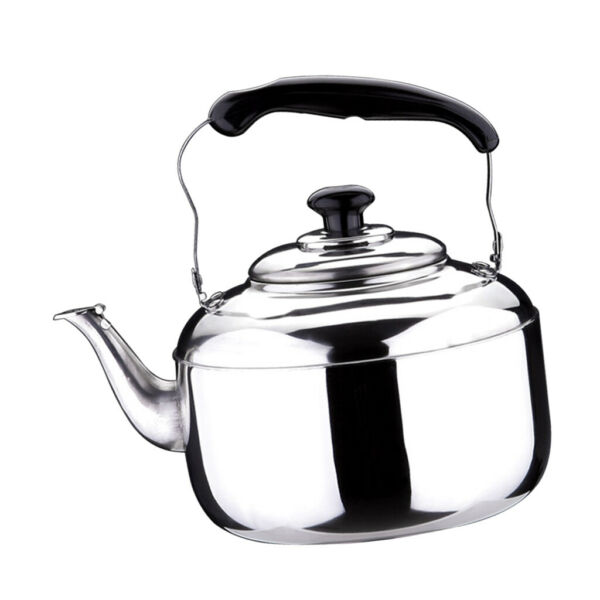 Kettle With Grooved Handle Whistling Kettle Coffee Stovetop Camping Silver
