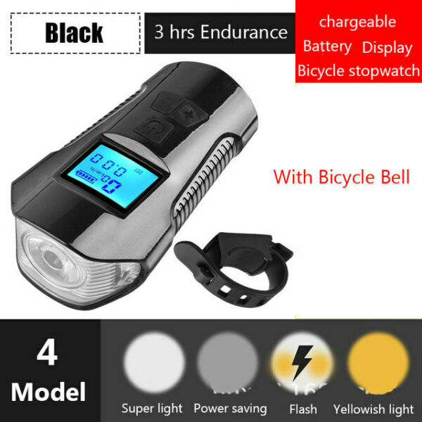 LED Bicycle Bell Lights USB Rechargeable Bicycle Speedometer Headlight Odometer $13.99