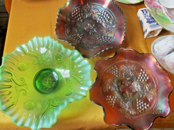 Lot Of 3 Carnival Depresson Glass Northwood Grape and Cable pattern