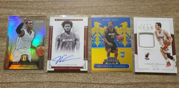 Miami Heat 4 Card lot Patch Relics Autos Players from Past amp; Present $24.99
