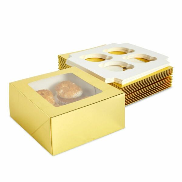 Gold Cupcake Boxes with Inserts amp; Window Hold 4 Cupcakes 6.3 x 6.3 x 3 In 15x