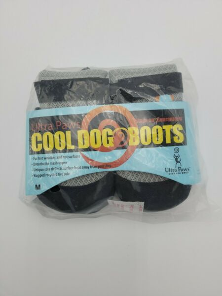 ULTRA PAWS COOL DOG BOOTS Black Gray SIZE MED NWT $25.00