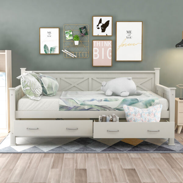 Wooden Daybed with Drawers Sofa Bed Twin Size for Bedroom Living Room Modern US $480.99