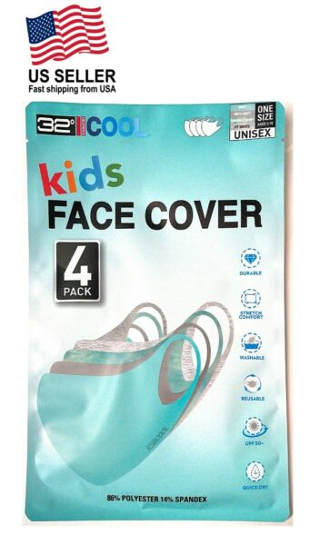 32 Degrees Cool Kids Unisex Face Mask Cover 4 pack Stretch Washable UPF 50 Mint $29.99