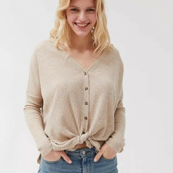 Out From Under For Urban Outfitters Women Waffle Knit Cardigan Sweater SP $14.50