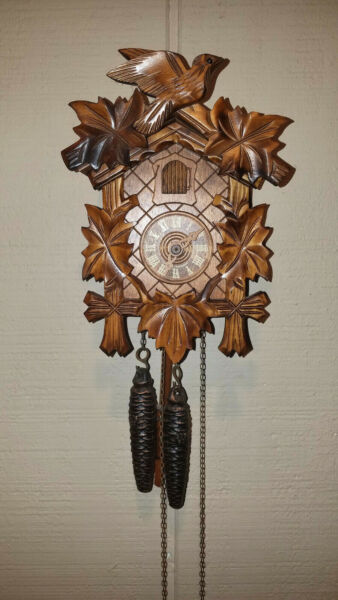 VINTAGE GERMAN BLACK FOREST CUCKOO CLOCK WITH COA 1 DAY WORKS GREAT