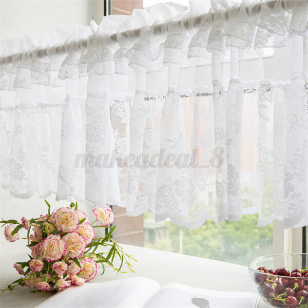 Country Finished Coffee Curtain Short Half Lace Partition Kitchen Windo