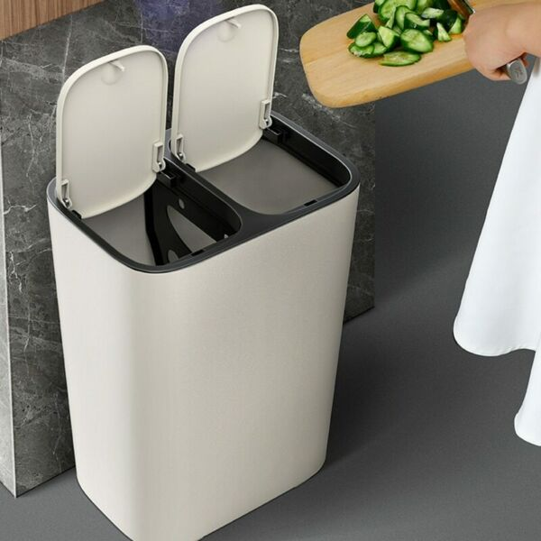 Kitchen Dustbin Bin Waste Trash Can Office Rubbish Double Duo Home 15L NEW $55.88
