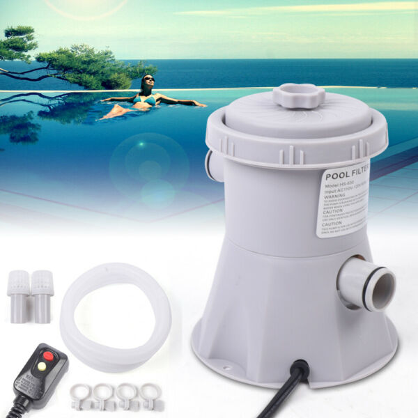 Outdoor Swimming Pool Electric Filter Pump With 2x Filter Tube Accessories 20W $44.41