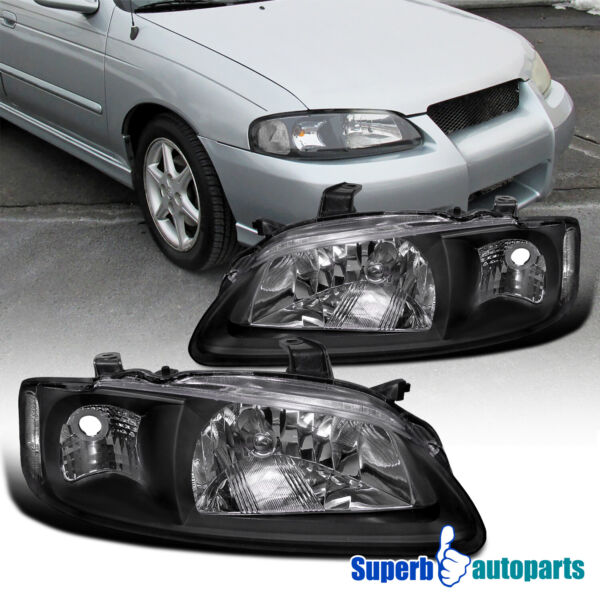 For 2000 2003 Nissan Sentra Diamond Headlights Head Lamps Black Lamp Replacement