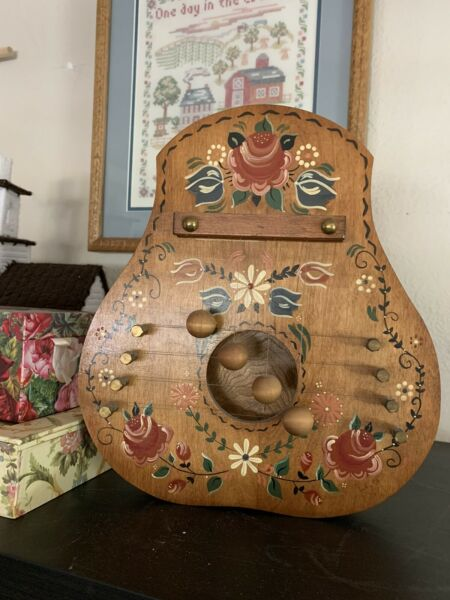 Hand Painted DOOR HARP Vintage Wood Floral Beautiful High Quality