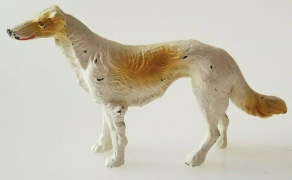 Vintage Metal Dog Borzoi Russian Wolfhound Figure 3.75quot; Long $65.00
