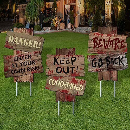 Halloween Decorations Beware Signs Yard Stakes Outdoor 16.5quot; x 12.2quot; 3 Pieces $18.53