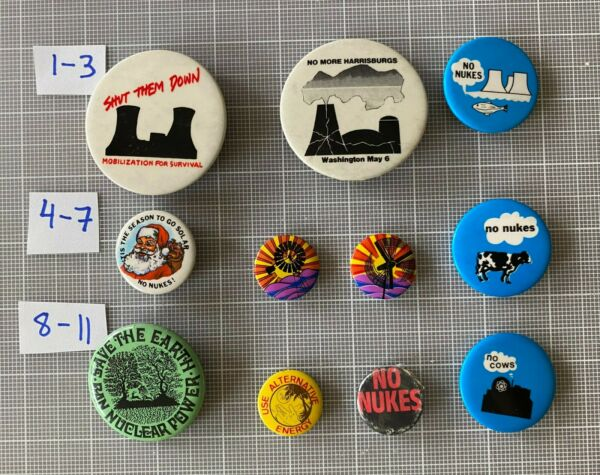 1960s 1970s Anti Nuclear Power No Nukes Cows Fish Solar Wind Pinback Lot 11 $140.00