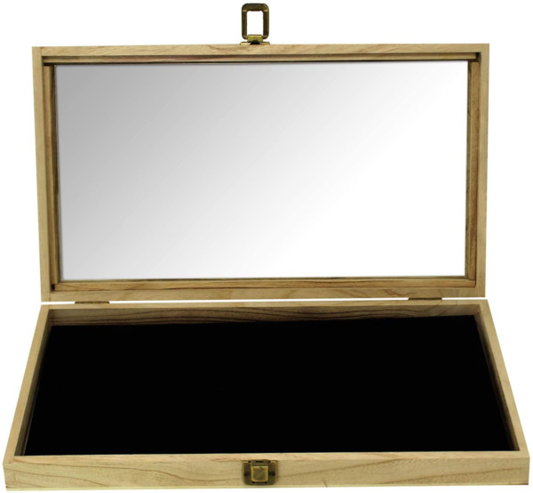 Display Box Wood Glass Top Lid With Black Pad Case Medals Awards Jewelry Brown $30.57