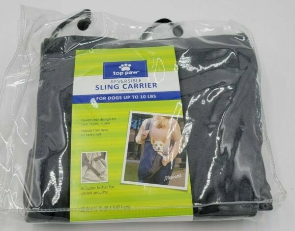 Top Paw Reversible Dog Sling Carrier Dogs Up to 10 Pounds Gray New $22.00