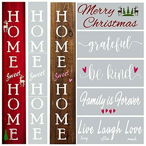 Vertical Home Sweet Home Stencils Painting on Wood Family Christmas Laugh Love $14.99