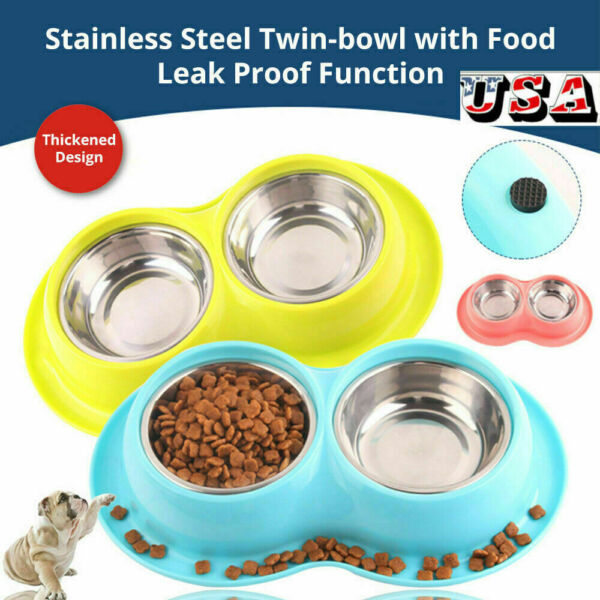 Durable Dog Cat Double Feeding Bowls Stainless Steel Pet Water Food Dish Feeder $9.35
