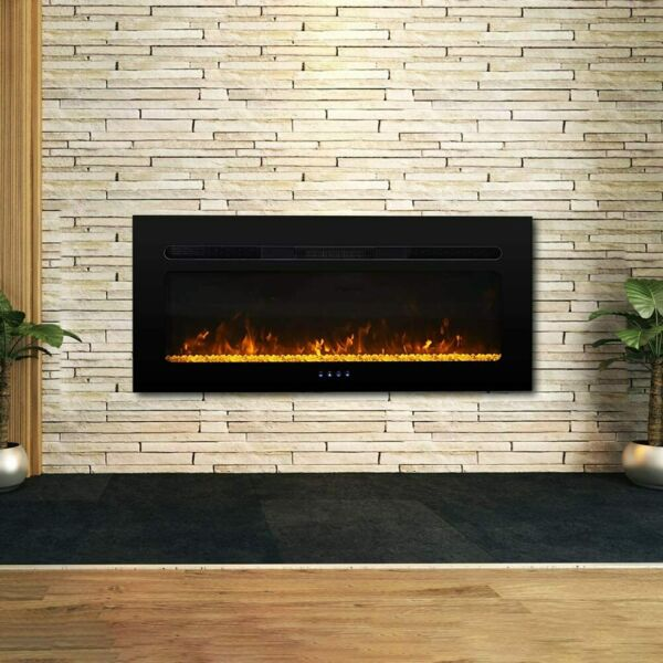 40#x27;#x27; Electric Fireplace Insert Wall Mounted Electric Heater Touch Screen 1500W $179.99