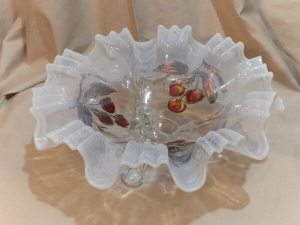 Dugan Diamond Cherries On White Opalescent 3 Footed 10 Sided 9quot; Bowl circa 1911
