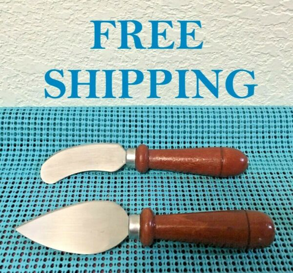 USED Wood Handle Stainless Steel Cheese Cutter amp; Knife Spreader 6 1 4quot; $10.99