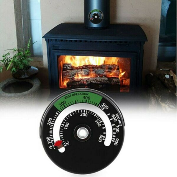Magnetic Black Wood Stove Pipe Fireplace Heat Temperature Gauge Thermometer $9.14
