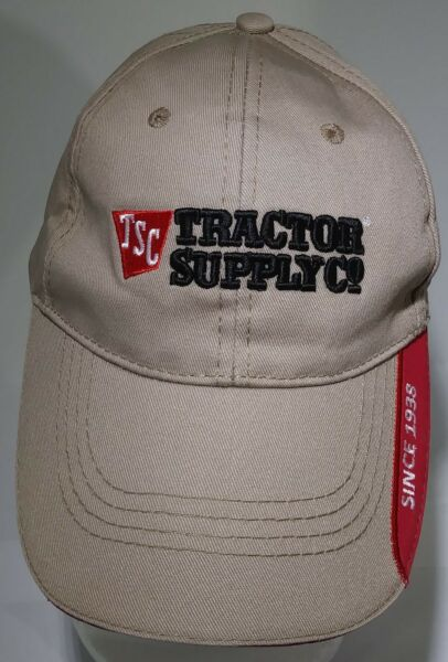 Tractor Supply Company Embroidered Strapback Beige And Red Cap TSC Agriculture $11.24