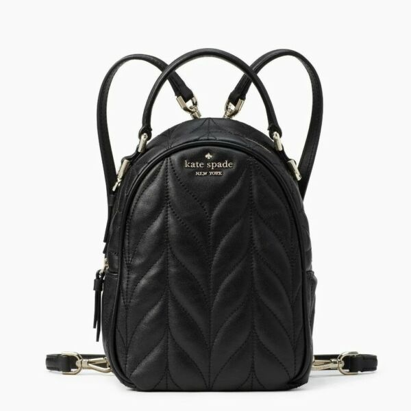 KATE SPADE New York Briar Lane Quilted Mini Convertible Black Leather Backpack $119.99