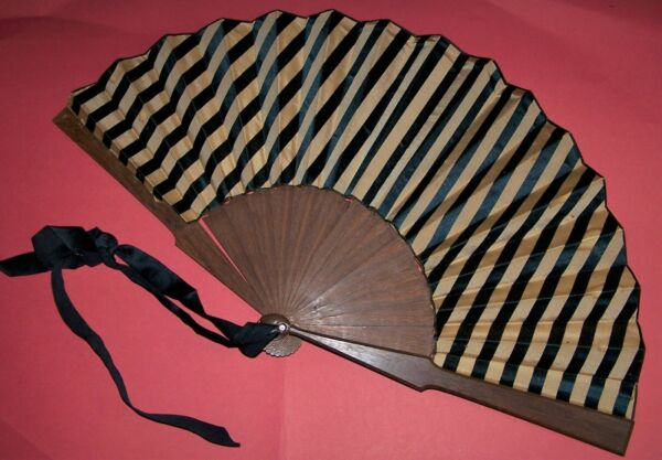 Antique Striped Silk and Wood Fan $20.00
