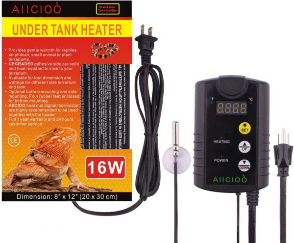 Aiicioo Under Tank Heater Thermostat 8W 16W 24W Reptile Heating Pad with Tempe $54.99