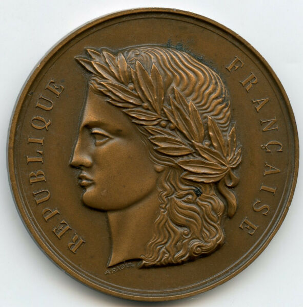 FRANCE MARIANNE FRENCH BRONZE ART MEDAL BY RAOUL 50MM 58G