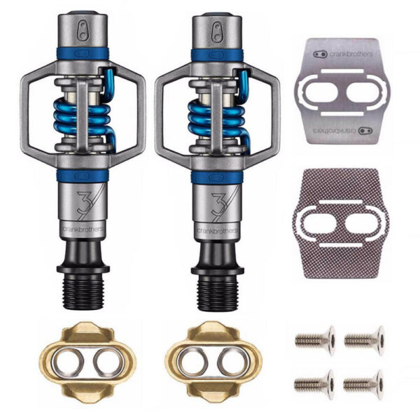Crankbrothers Eggbeater 3 Bike Pedals Blue with Cleats and Shoe Shields $109.99