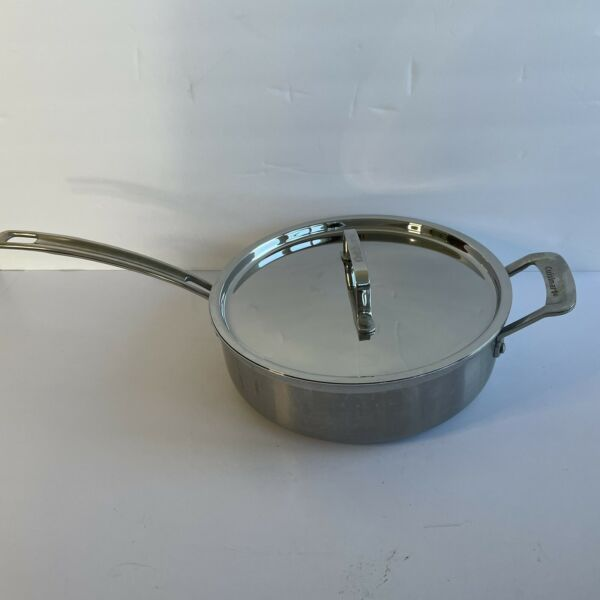 Cuisinart Stainless Steel 3.5 Qt Fry Saute Pan With Lid Induction Ready