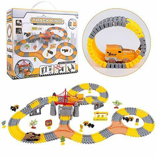 225 Pcs Construction Race Track Set with 1 Electric Cars and 1 Electric Tank $25.31