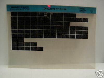 Microfiche Honda Motorcycle Fiche for 1996-1999 XR400R