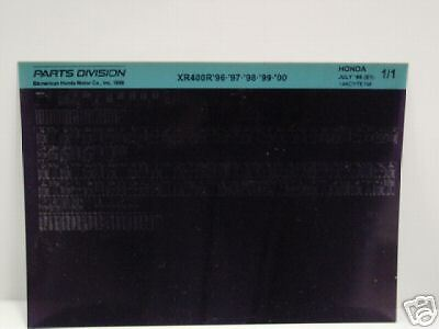 Microfiche Honda Motorcycle Fiche for 1996-2000 XR400R