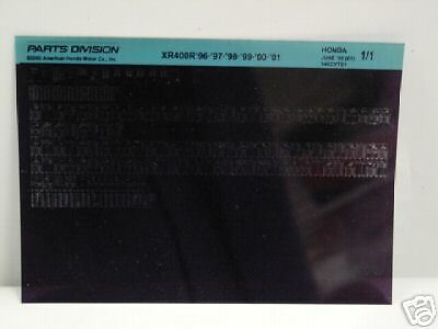 Microfiche Honda Motorcycle Fiche for 1996-2001 XR400R