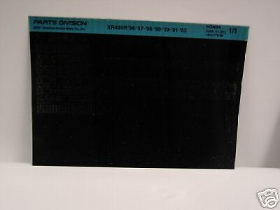 Microfiche Honda Motorcycle Fiche for 1996-2002 XR400R
