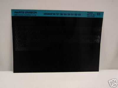 Microfiche Honda Motorcycle Fiche for 1996-2003 XR400R