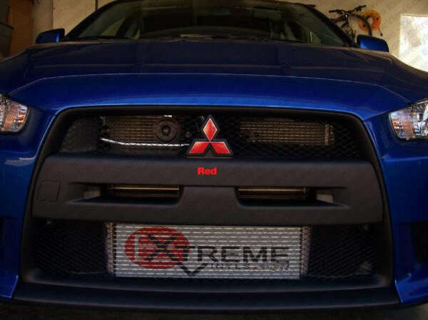 Mitsubishi Lancer Front & Rear red emblem Decal overlays - precut color choices